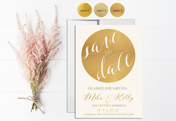 Wedding - Gold Save the Date Invitation Printable, Wedding Save the Date, Digital, Template, Save the date Card, Gold Glitter, Gold Sparkle, Circle