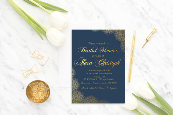 Свадьба - Navy Blue Bridal Shower invitation printable, Gold Bridal Shower invite, Lace, Digital, Template, modern bridal shower card, DIY, Elegant