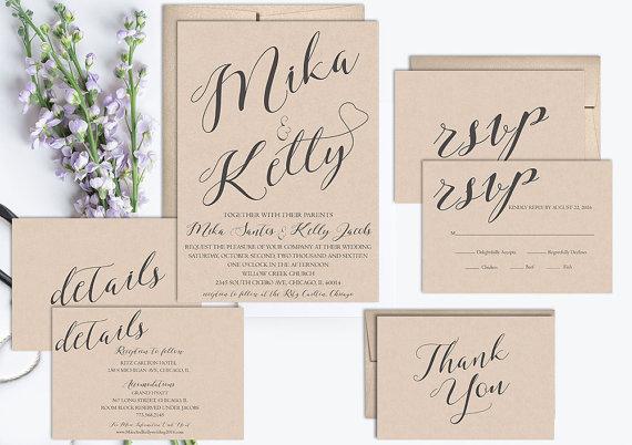 Wedding - Rustic Wedding Invitation Suite Printable, Kraft Wedding Invitation Set, Wedding Invite Template, Vintage Wedding Invitation, Digital, DIY