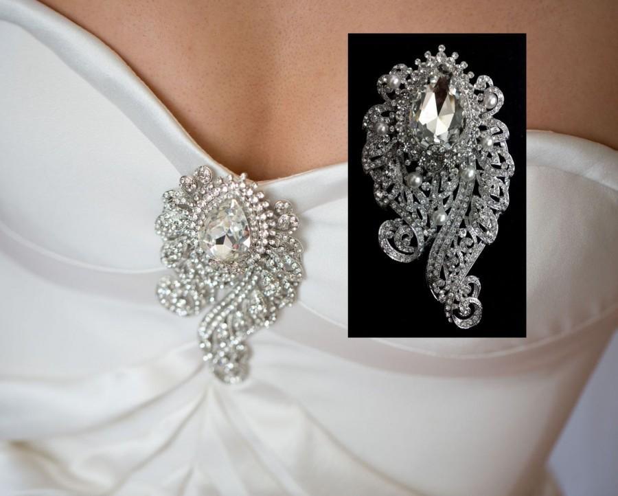 2b6d35df46a Art Nouveau Wedding Brooch, Pearl Bridal Broach, Bridal Dress Jewelry,  Bustier Broach, Swarovski Crystal Wedding Jewelry Gift, INGGRID