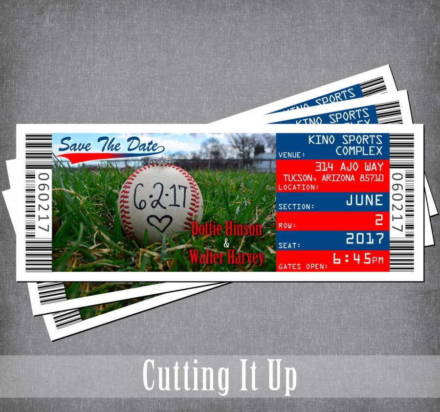 baseball save the date magnet sports ticket save the date wedding