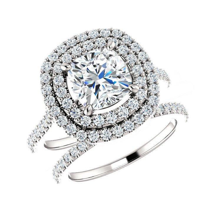 Свадьба - 7mm Cushion Forever One Moissanite & Diamond Wedding Set