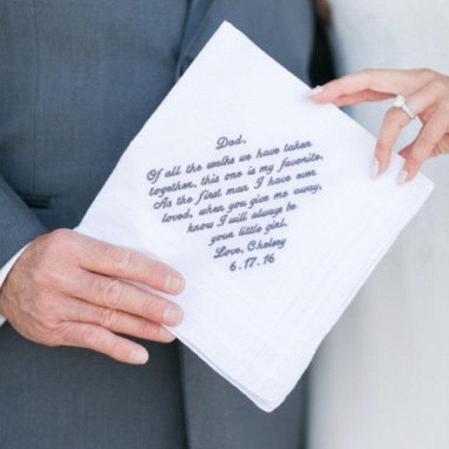 Свадьба - Father of the Bride Handkerchief --corner design with Wedding date White