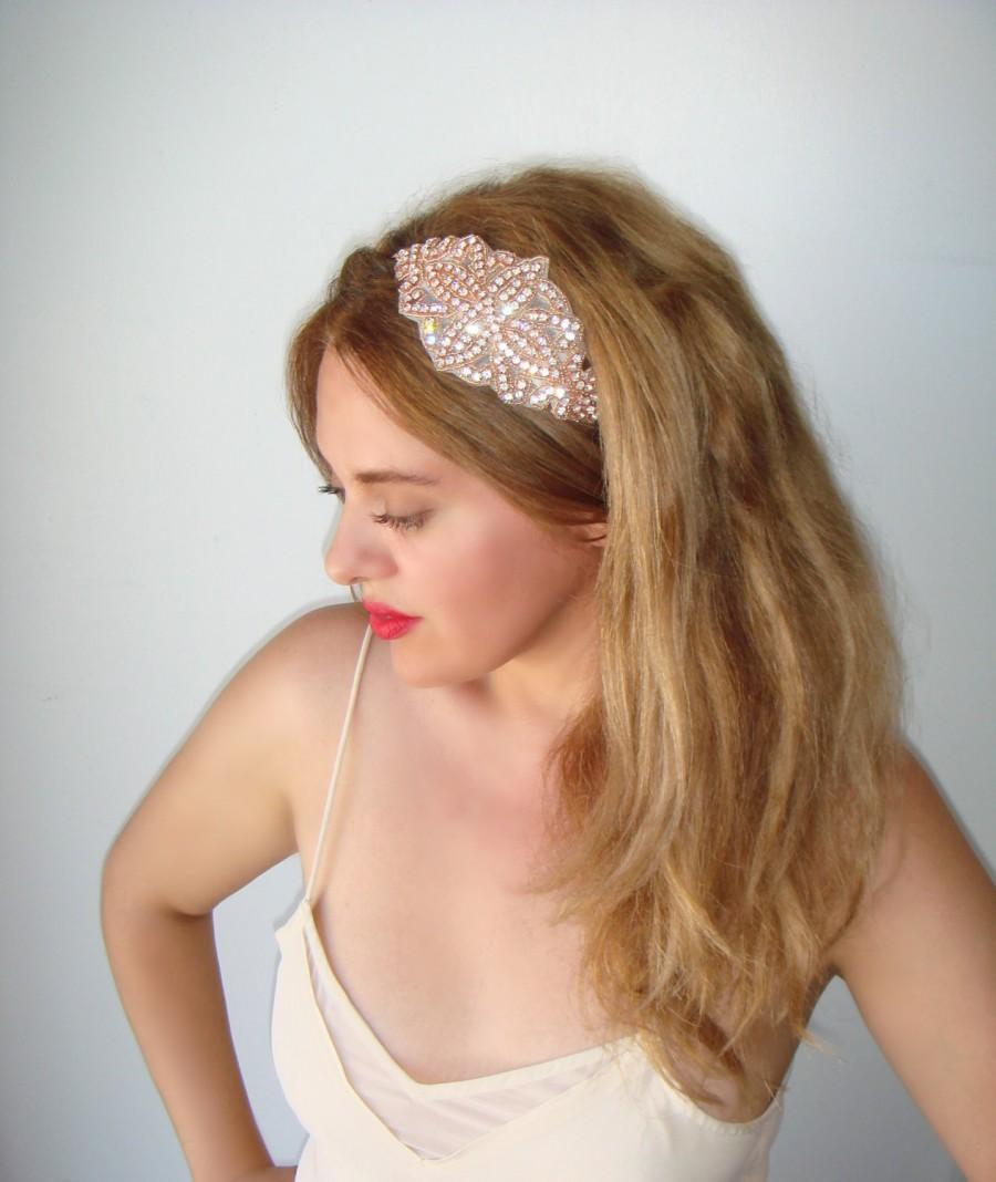 Wedding - Weddings, Rose gold headband, Wedding headband, Rhinestone headband, headband, Bridal headpiece, Accessories, Bridesmaid, Rose gold,  VENICE