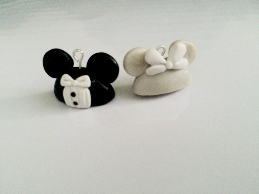 Hochzeit - Wedding Themed Mickey and Minnie Charms/Figurines Polymer Clay