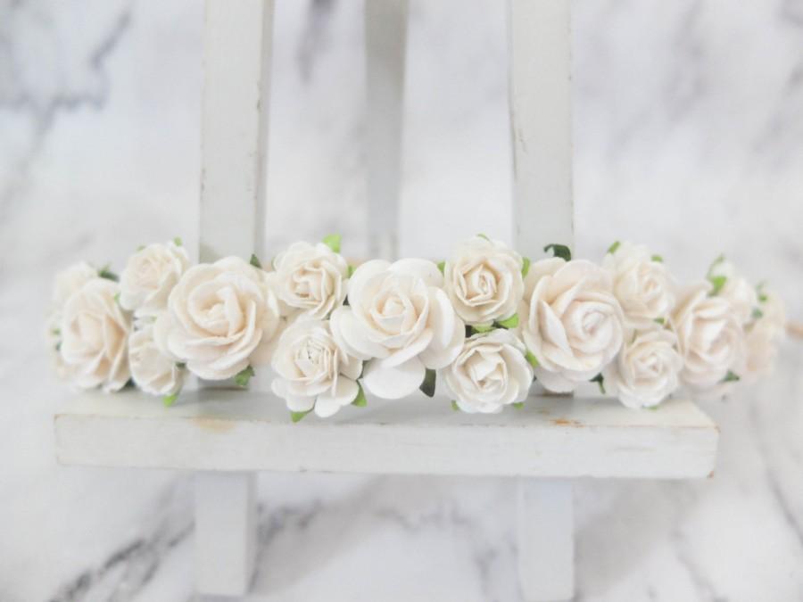 White flowers crown - rose headpiece - wedding floral halo - hair garland - head  wreath e4a8b9c53cc