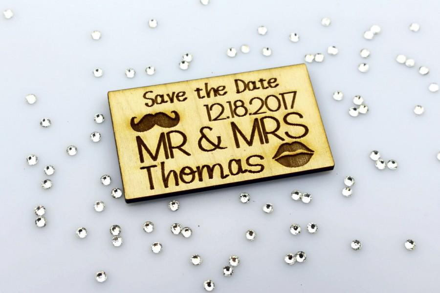 Wedding - Save the Date Magnet, Mustache and Kiss Lips, MR and MRS, Laser Engraved, Rustic Save the Date, Personalized, Mr & Mrs, Laser Cut, Custom