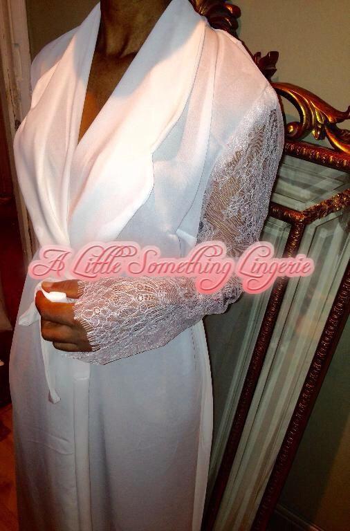 61c4dd6982 Bride robe long bridal robe silk dressing gown Ivory wedding robe wedding dressing  gown long bridal lace robe ivory silk georgette Ivy robe