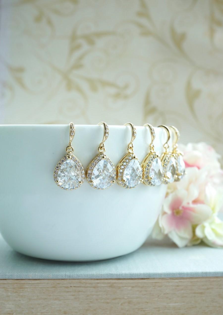 Hochzeit - Bridesmaid Earrings Set of 5, 6, 7, 8, 9, 10, 11, 12 GOLD PLATED Bridal Earrings LARGE Teardrop White Crystal Cubic Zirconia Wedding Earring