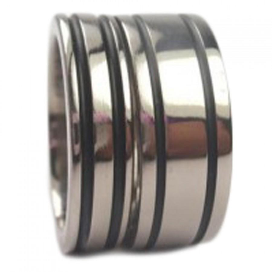 Titanium Wedding Band Set For Him And Her Titanium Rings With Black