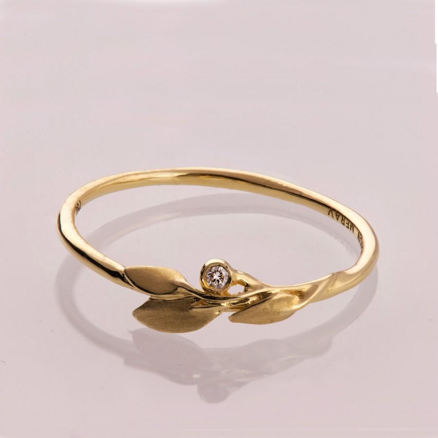 Leaves Diamond Ring No. 1 - 14K Gold and Diamond engagement ring, engagement  ring, leaf ring, filigree, antique, art nouveau, vintage