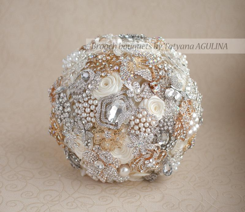Wedding - Brooch bouquet. Ivory, Gold and Silver Brooch Bouquet, Bridal bouquet. Quinceanera keepsake bouquet