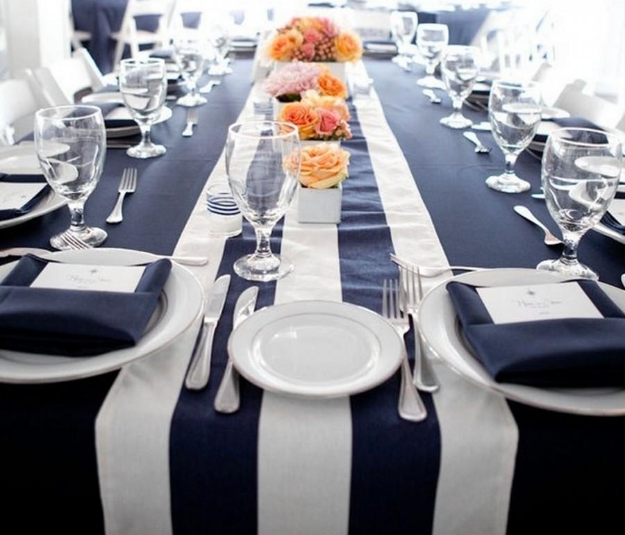 Hochzeit - 1 DAY FREESHIP, Navy and White, Striped Tablerunner, Nautical, Beach wedding, bridal shower, Baby Shower