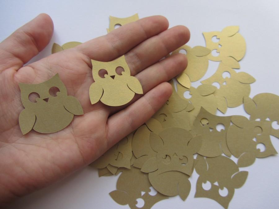 Hochzeit - Gold Wedding Owl Die Cuts - Wedding Table Confetti - Baby Shower Animal Decoration - Paper Owls - Gold baby shower