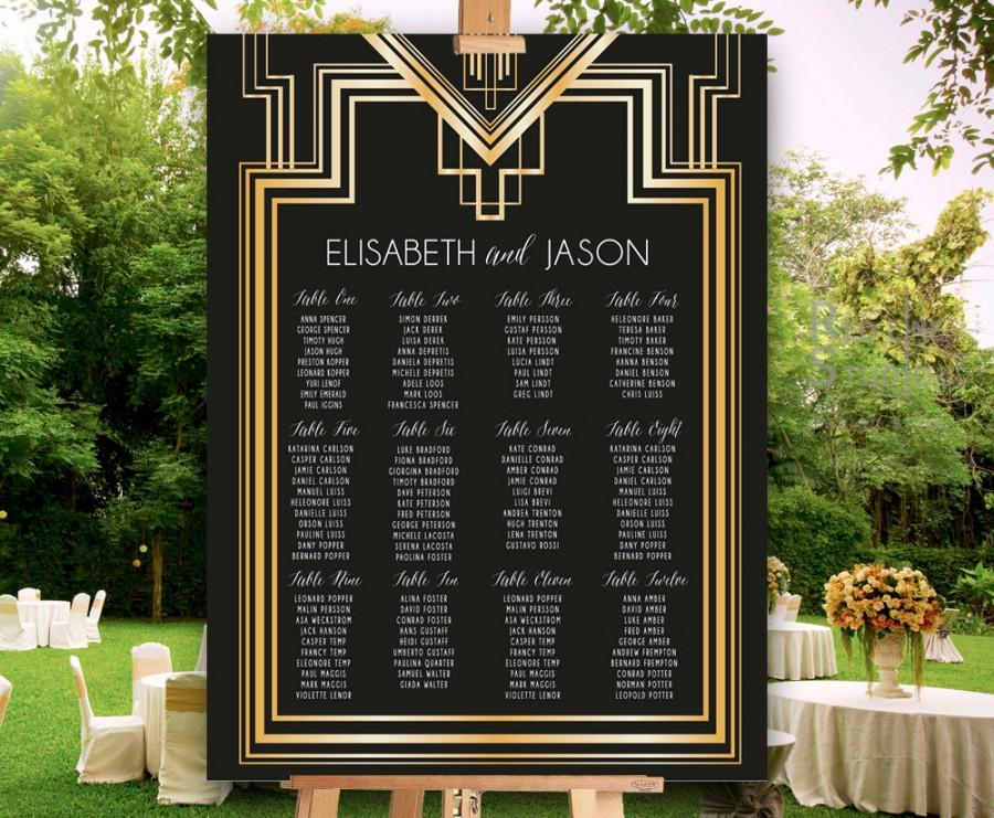 Hochzeit - Great Gatsby Inspired Seating Chart for wedding and parties - PRINTABLE File - customised - ready to print