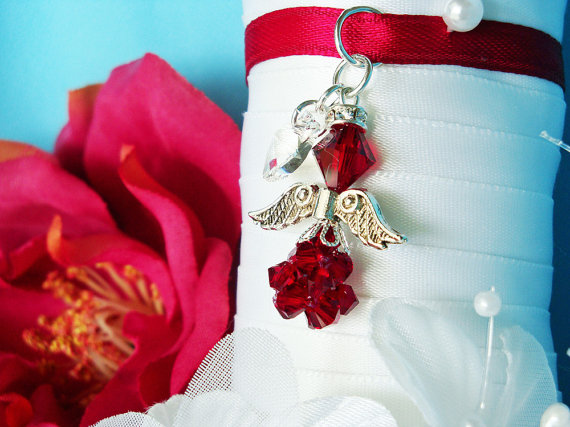 Wedding - Red Wedding Bouquet Charm Swarovski Crystal Angel Bridal Bouquet Charm
