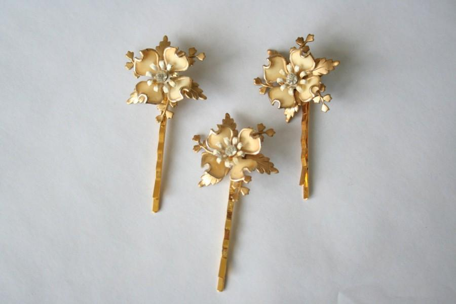 Mariage - Flora hair pins, SET 3 one-of-a-kind