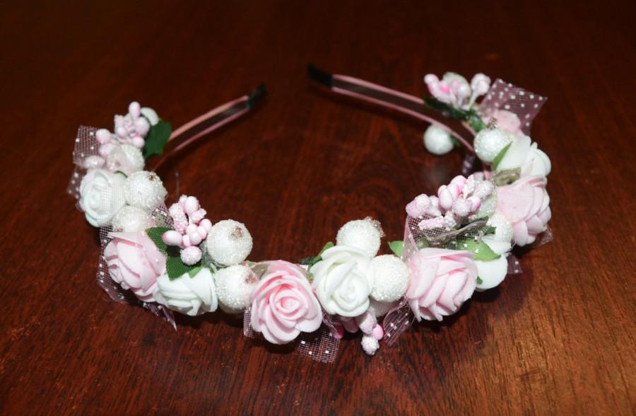 Mariage - Bridal Flower Crown, Wedding Hair Wreath, Bridal Hair Accessories, White Rose Hair Wreath, Pink Head Crown,Accessories For Girls,Gift or her