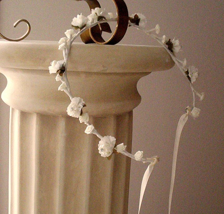 Mariage - Bridal sparkle Flower crown Romantic hair wreath -Becca- Vintage inspired wedding party Ivory rhinestones headpiece flower girl halo