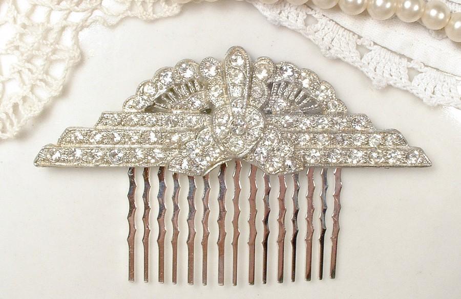 Mariage - Antique Art Deco Bridal Hair Comb Crystal Rhinestone Fan Downton 1920 Hairpiece Flapper Vintage Wedding Accessory Gatsby Headpiece Edwardian