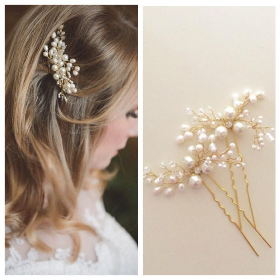 Mariage - Mohini Bridal hair pin, Pearl Hair pin, Gold  or Silver