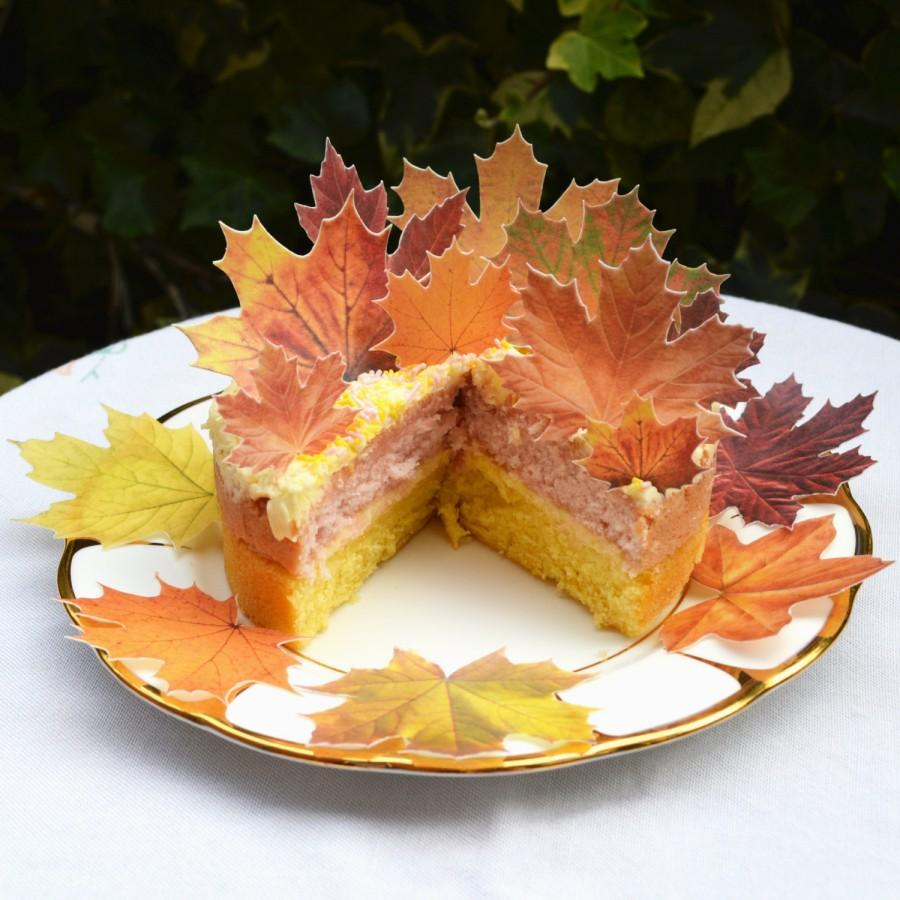 زفاف - Edible Maple Leaves Autumn Fall x 14 Rustic Orange Wedding Cake Decorations Wafer Rice Paper Yellow Leaf Cupcake Toppers Thanksgiving Cookie