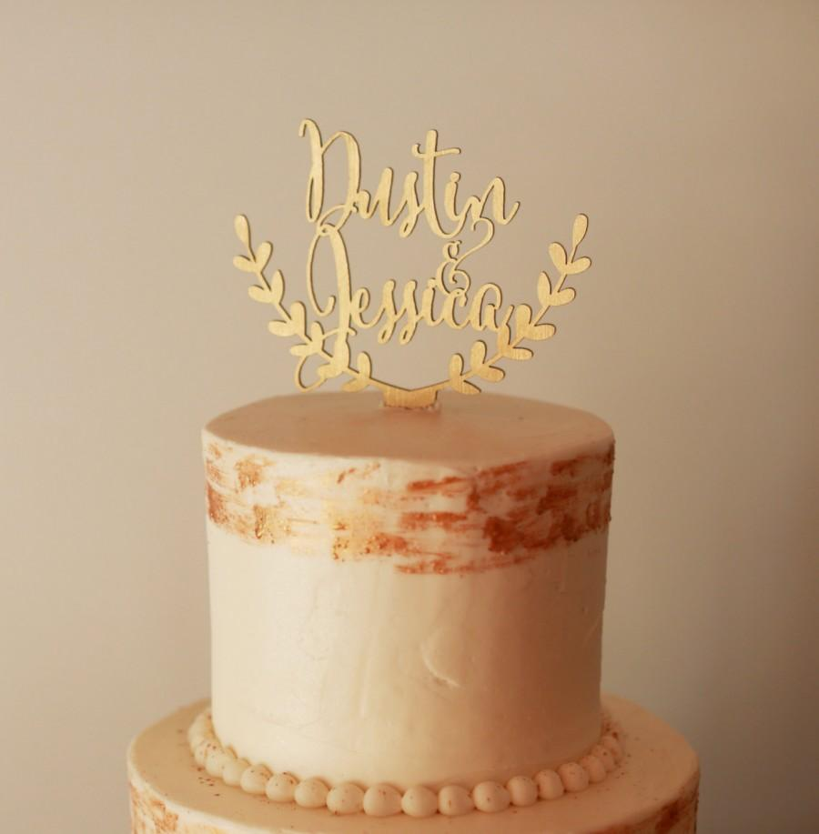 Свадьба - Personalized cake topper, custom wedding cake topper, rustic wedding cake topper, names cake topper