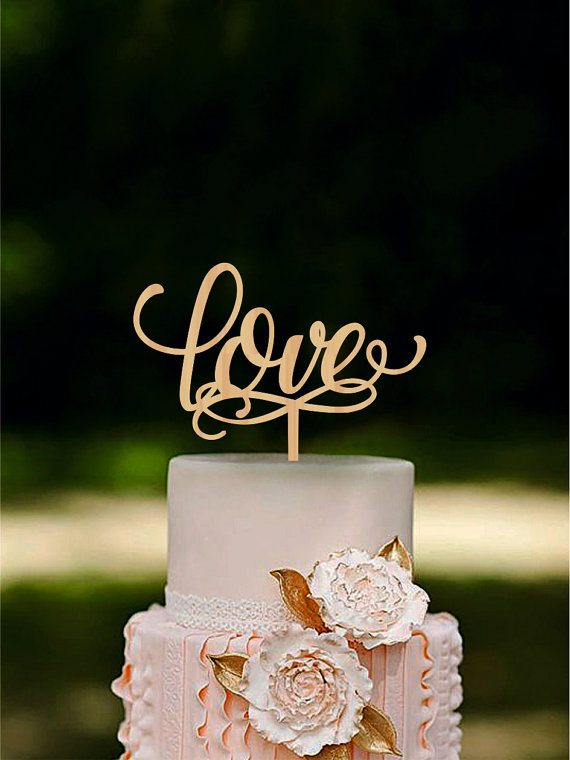 Hochzeit - Love Wedding Cake Topper Wooden Cake Topper Rustic Cake Topper for Wedding Unique Wedding cake topper Gold or SIlver Metallic