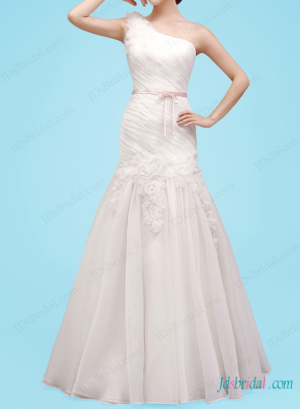 Свадьба - H1453 Beautiful one shoulder a line florals wedding dress