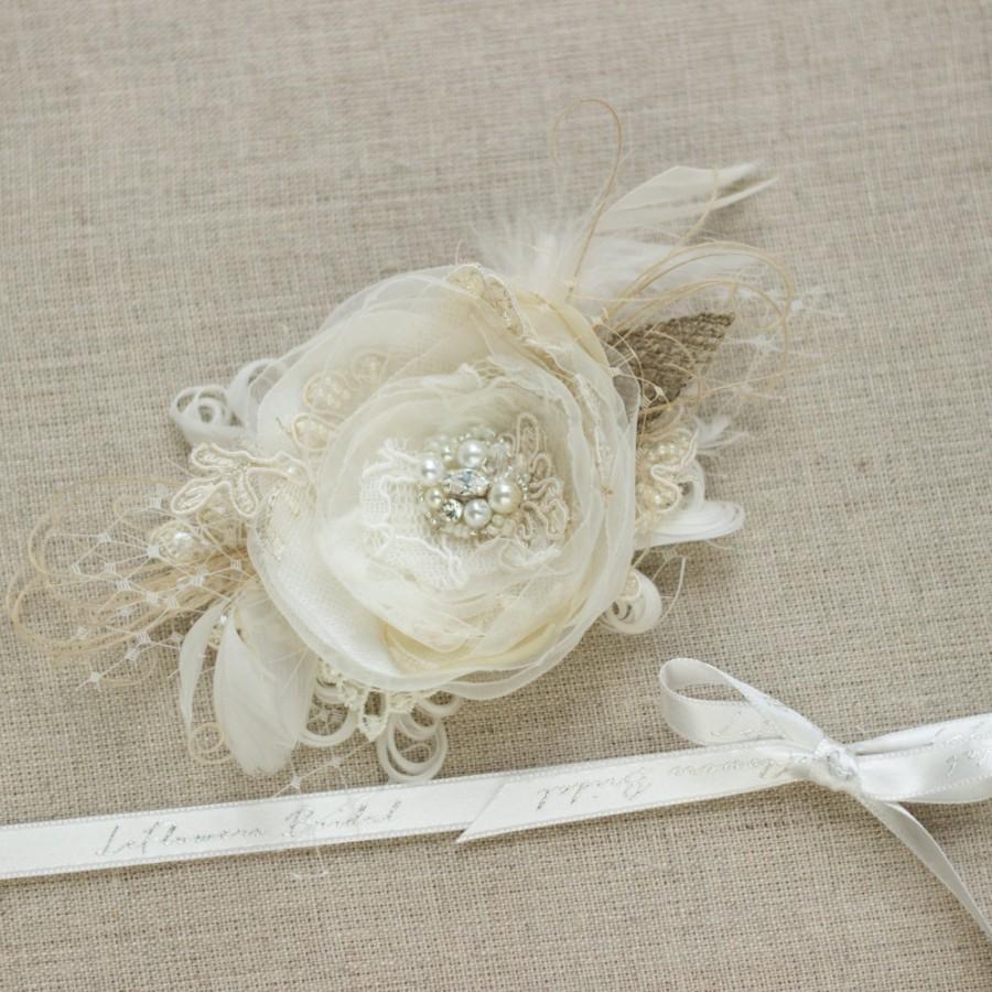 Mariage - Bridal hair flower Bride hair accessory Wedding hair piece Bridal Hair piece burlap hair flower Wedding headpiece wedding hair accessory