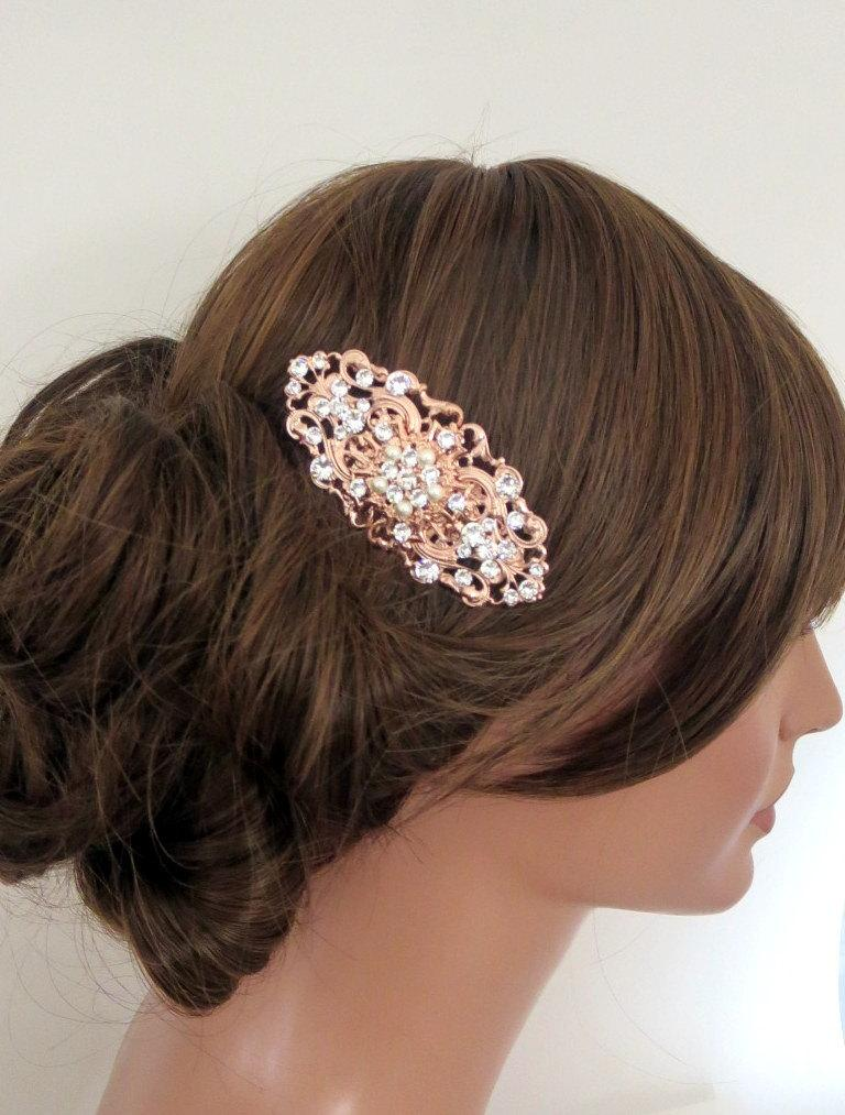 Mariage - Rose Gold Bridal hair comb, Rose Gold Wedding headpiece, Rose Gold hair comb, Crystal hair comb, Bridal hair piece, Swarovski crystal
