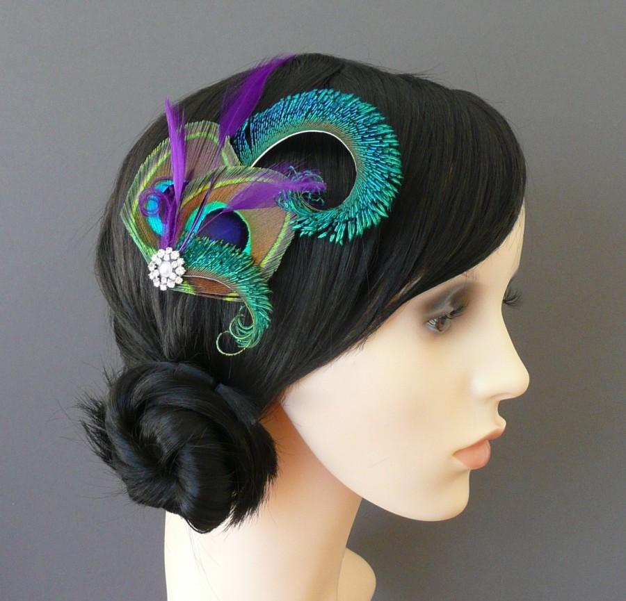 Mariage - Peacock Feather Hair Clip Purple Fascinator 1920's Flapper Bridesmaids Hair Accessory Crystal Wedding 'Althea'
