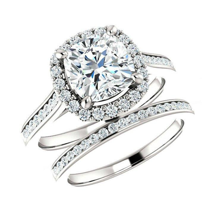 Wedding - 7mm Cushion Forever One Moissanite Engagement & Diamond Wedding Set