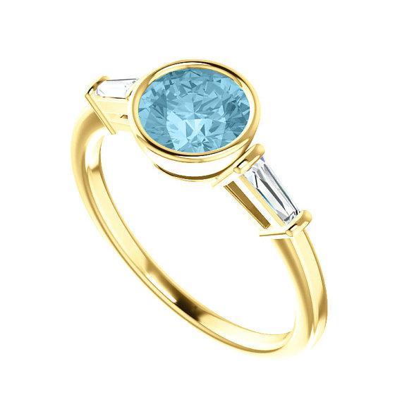 Aquamarine Amp Diamond Baguette Side Stones Engagement Ring