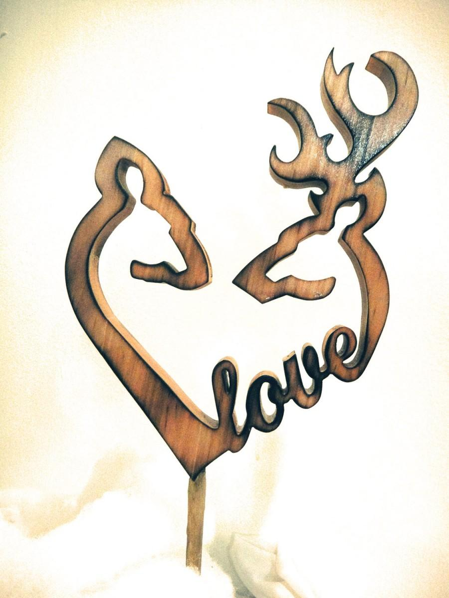Wedding - ELITE Collection Country Rustic Shabby Browning Deer Couple Heart Wood Carving LOVE Wedding Cake Topper