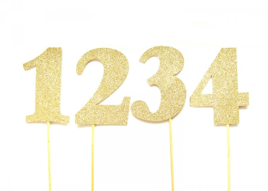 Large Gold Glitter Number Cake Toppers - Table Numbers, Birthday ...