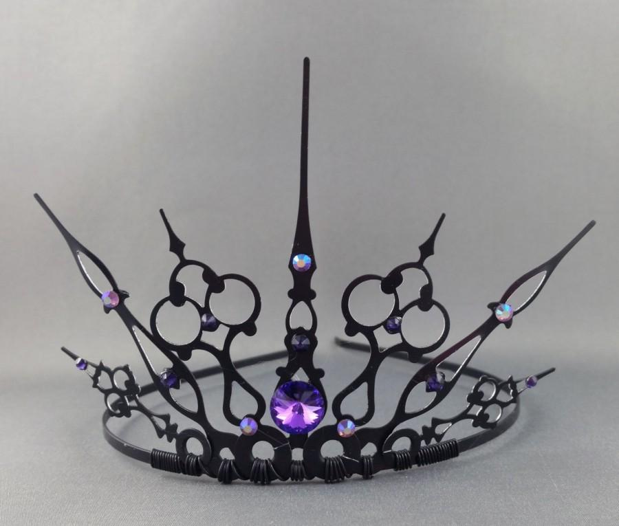 Mariage - Purple Gothique - Black Filigree Gothic Tiara Evil Queen Crown Evil Queen Tiara Once Upon a Time - Made to Order
