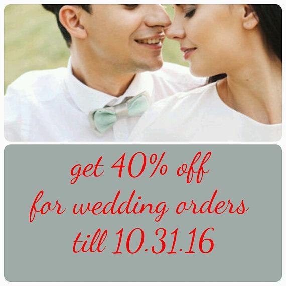 Mariage - mens bow tie embroidered grey satin mint bowtie wedding tie groom ties birthday gift boyfriend necktie cadeau danniversaire cravate d'ami