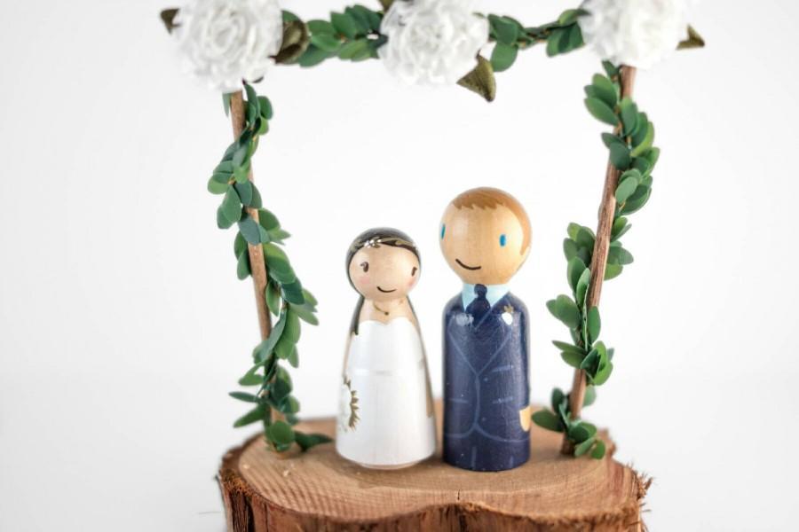 Mariage - Woodland Cake Topper - rustic wedding cake topper - fairy garden wedding - romantic cake topper - fairy cake topper - floral cake topper
