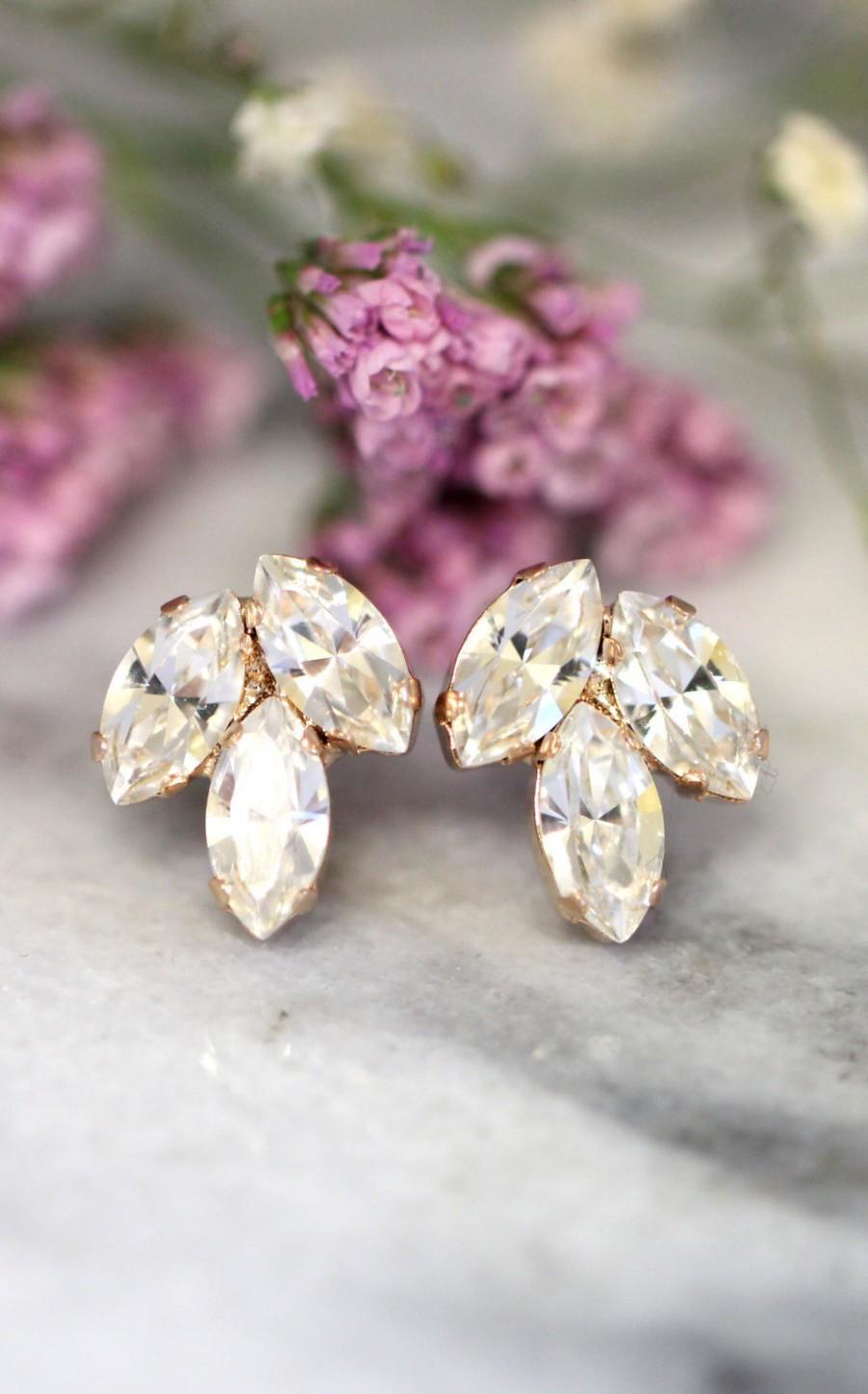 Mariage - Bridal Crystal Earrings,Swarovski Bridal Crystal Earrings,Bridal Cluster Earrings,Bridesmaids Earrings,Crystal Bridal Earrings,Crystal Studs