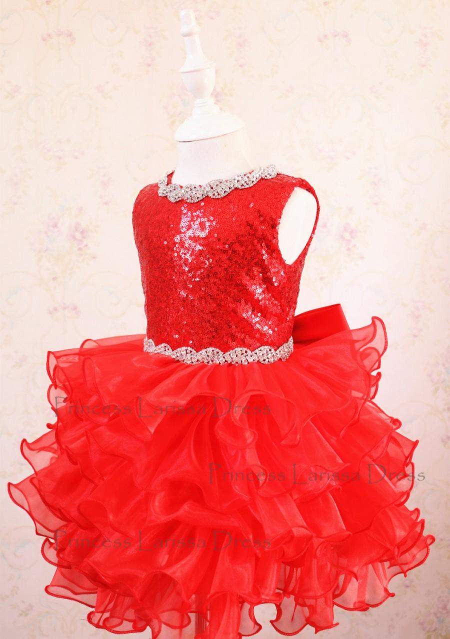 Wedding - Collection - Baby Girl Red Pageant Dress, Halloween Dress, Toddler Event Dress, Baby Birthday Dress, PD116