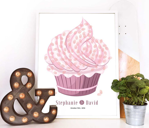 Wedding - pink cupcake design guest book, wedding guest book alternative, Fingerprint guest book, modern guest book ideas, cake wedding guestbook idea