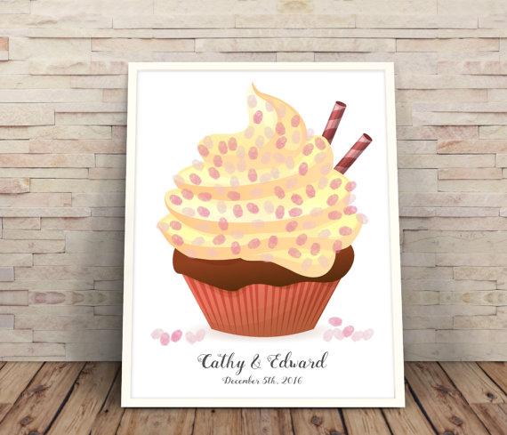 Cupcake Design Guest Book Wedding Alternative Fingerprint Modern Ideas Guestbook Idea
