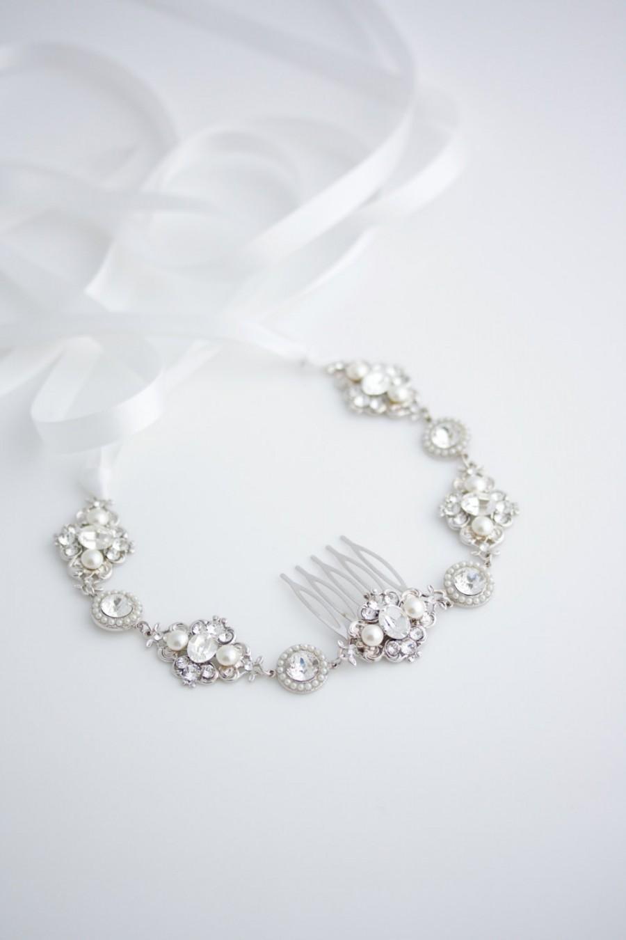 Mariage - Wedding Headband Wedding Hair Accessories Ribbon Headband Pearl Crystal  White Pearl Ivory Pearl Headband Bridal headband LEILA RIBBON