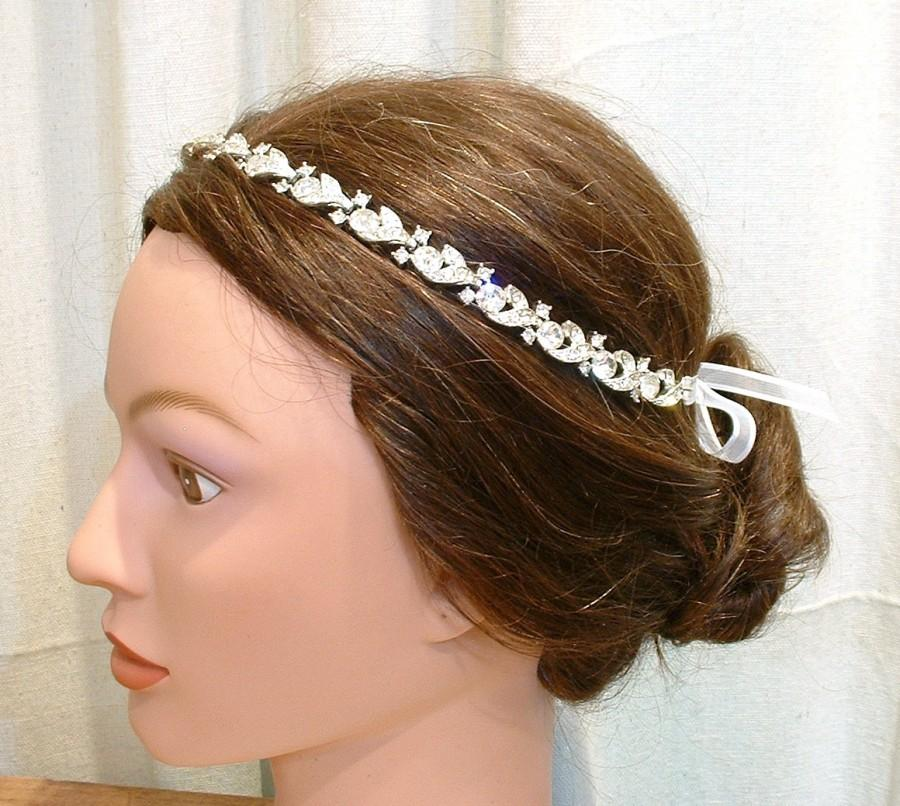 Mariage - 1920s Bridal Headband Hair Vine Vintage Crystal Rhinestone Downton Abbey Tiara Wreath Chain Art Deco Flapper Great Gatsby Wedding Halo Band