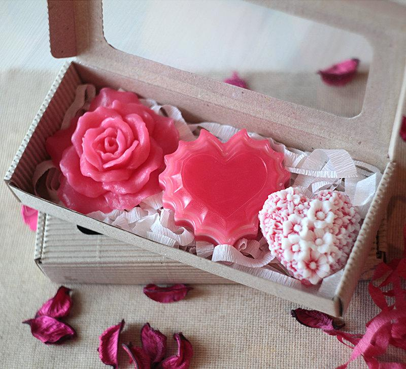 Handmade Heart And Pink Rose Soap Set Valentines Day Gift Idea For