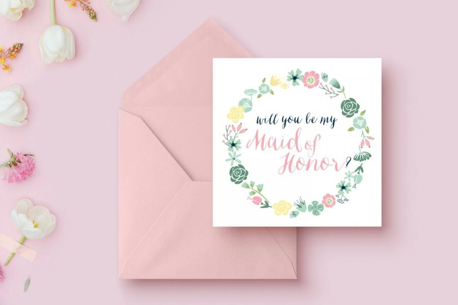 Hochzeit - Will You Be my Maid-of-Honor, Mint, Blush and Navy