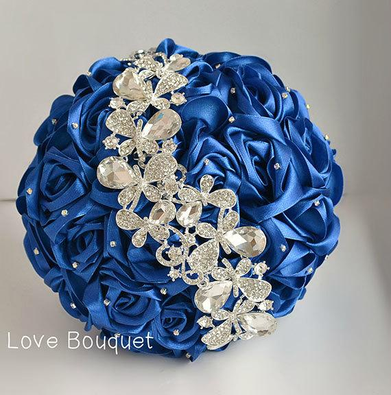 Wedding Bouquet Blue White And Silver Wedding Brooch Bouquet Royal