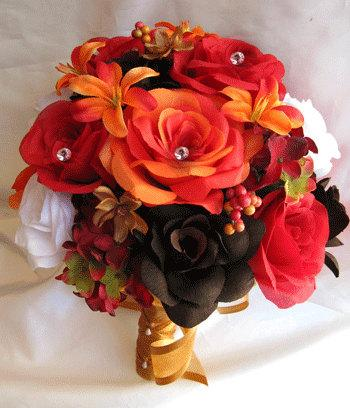 Wedding Bouquet Bridal Silk Flowers Lily Orange Brown Fall Red White