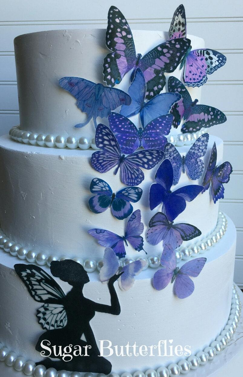 Mariage - Edible Butterflies Lavender Purple with or without Fairy Cake/Cupcake topper